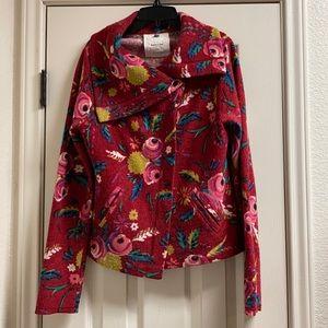 Sparrow tea house cardi floral merino wool sweater